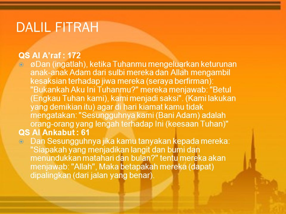 DALIL FITRAH QS Al A'raf : 172