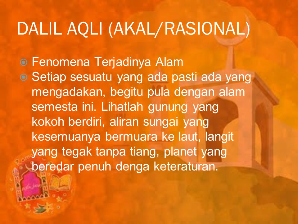 DALIL AQLI (AKAL/RASIONAL)