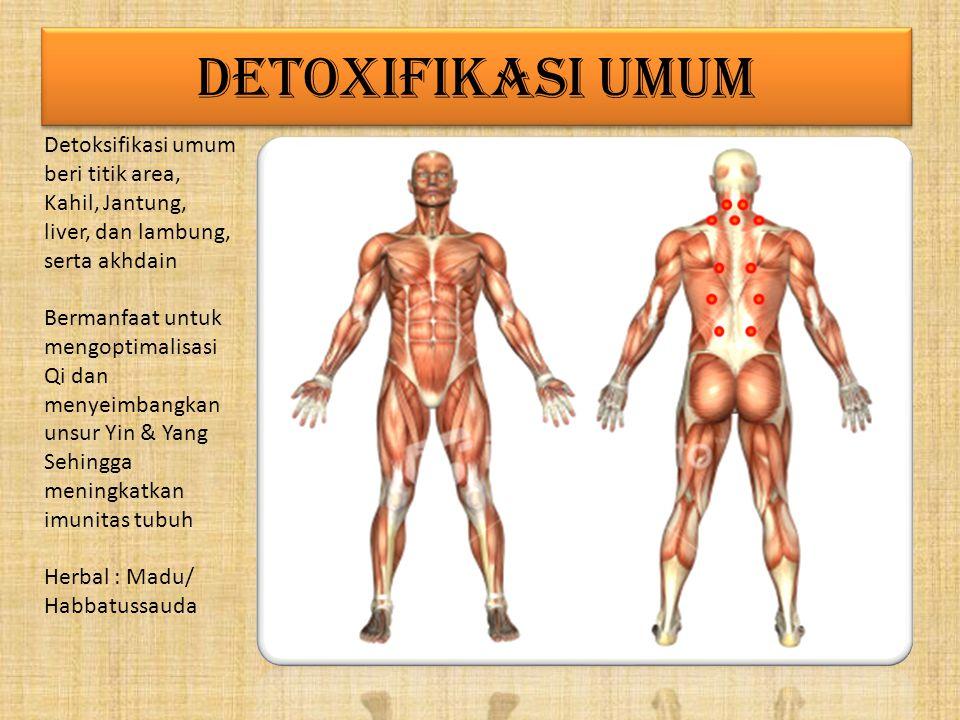 DETOXIFIKASI UMUM Detoksifikasi umum beri titik area, Kahil, Jantung, liver, dan lambung, serta akhdain.