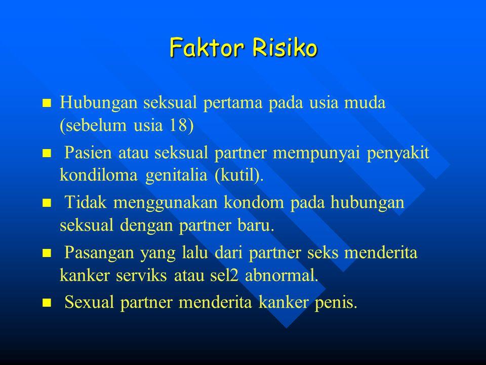 Faktor Risiko Hubungan seksual pertama pada usia muda (sebelum usia 18) Pasien atau seksual partner mempunyai penyakit kondiloma genitalia (kutil).