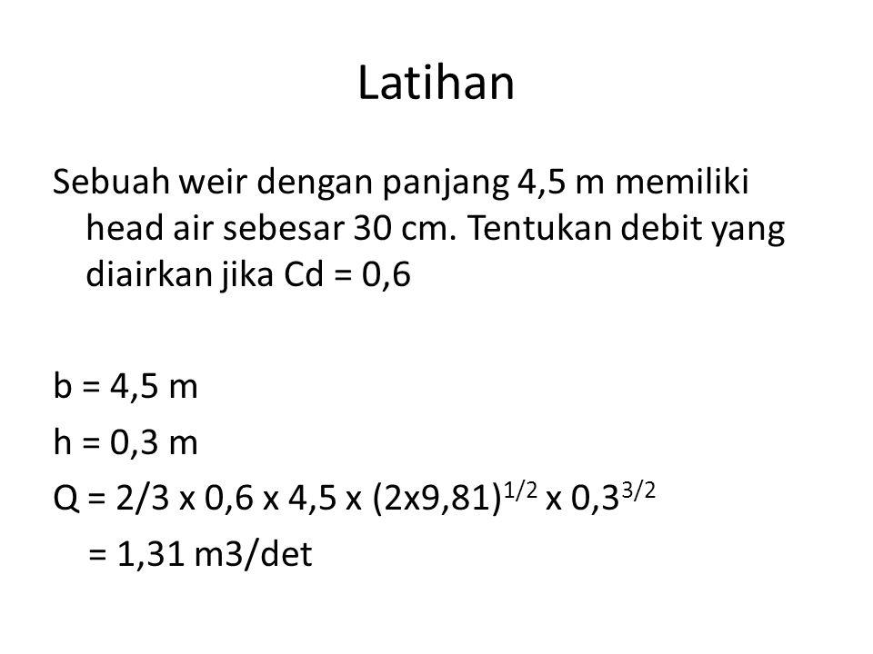 Latihan Sebuah weir dengan panjang 4,5 m memiliki head air sebesar 30 cm. Tentukan debit yang diairkan jika Cd = 0,6.