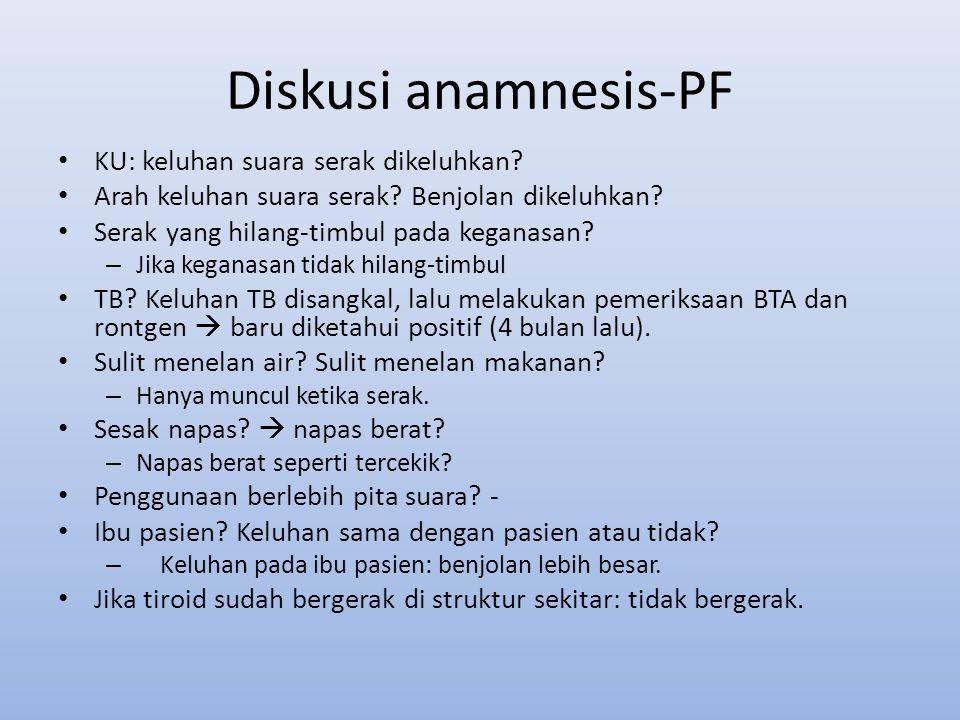 Diskusi anamnesis-PF KU: keluhan suara serak dikeluhkan
