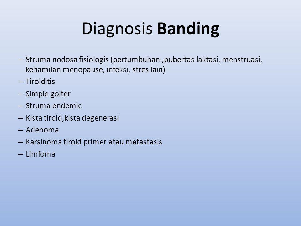 Diagnosis Banding Struma nodosa fisiologis (pertumbuhan ,pubertas laktasi, menstruasi, kehamilan menopause, infeksi, stres lain)