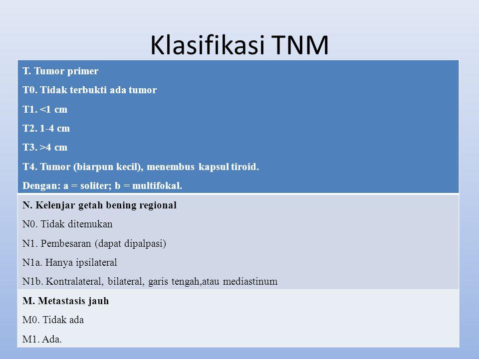 Klasifikasi TNM T. Tumor primer T0. Tidak terbukti ada tumor