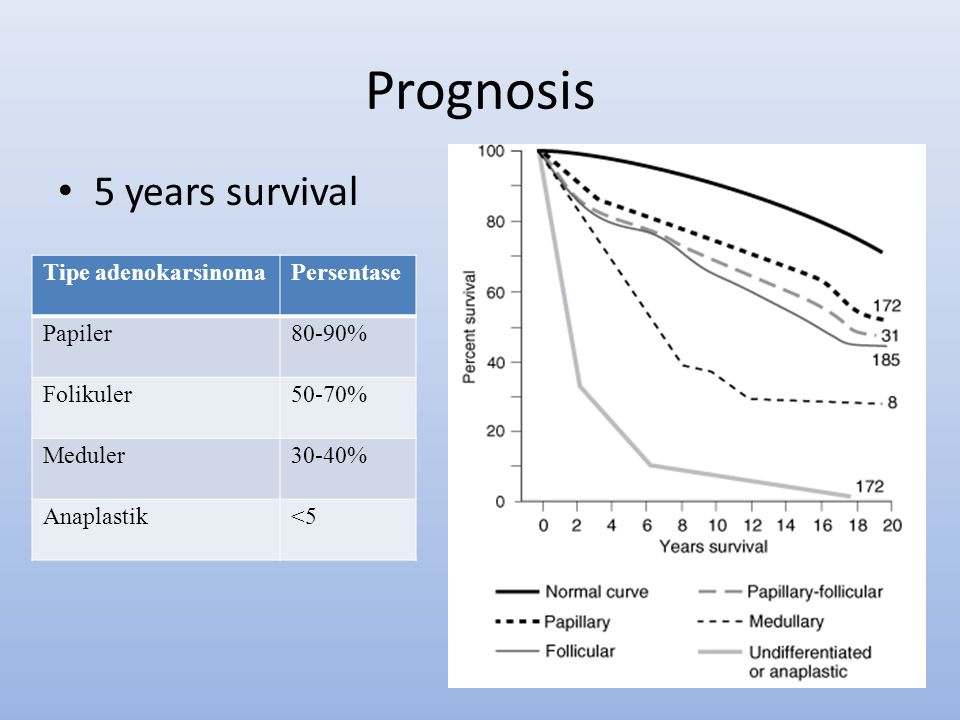 Prognosis 5 years survival Tipe adenokarsinoma Persentase Papiler