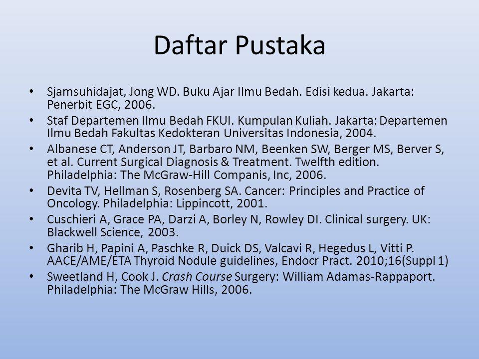 Daftar Pustaka Sjamsuhidajat, Jong WD. Buku Ajar Ilmu Bedah. Edisi kedua. Jakarta: Penerbit EGC, 2006.