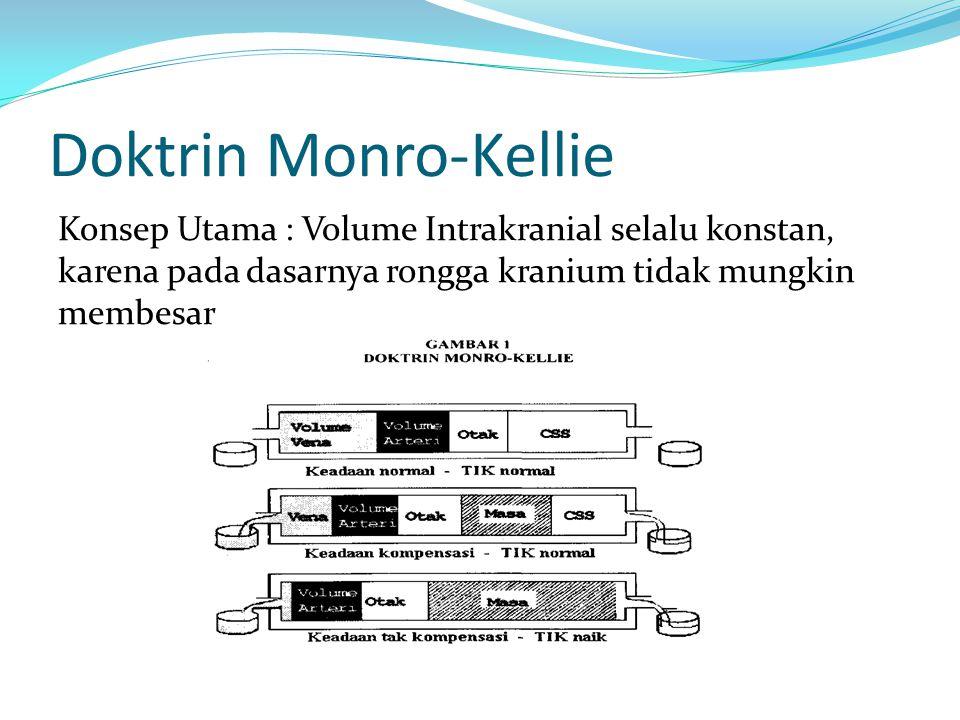 Doktrin Monro-Kellie Konsep Utama : Volume Intrakranial selalu konstan, karena pada dasarnya rongga kranium tidak mungkin membesar.