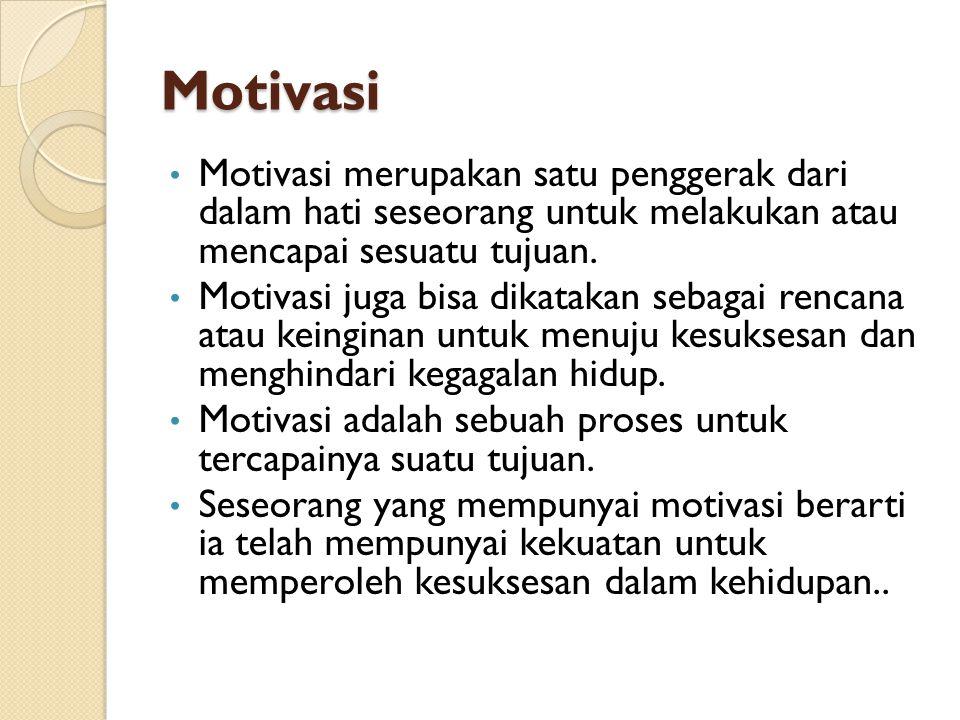 Motivasi Motivasi merupakan satu penggerak dari dalam hati seseorang untuk melakukan atau mencapai sesuatu tujuan.