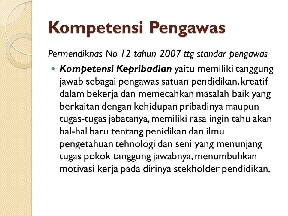 Kompetensi Pengawas Permendiknas No 12 tahun 2007 ttg standar pengawas
