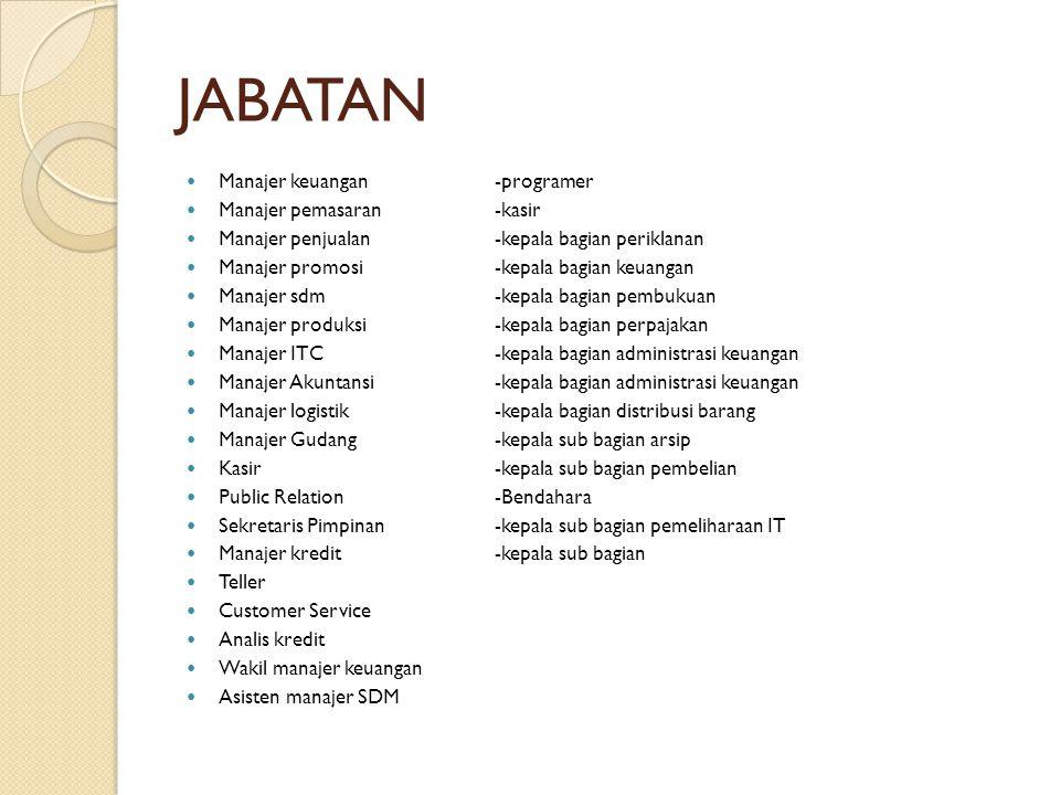 JABATAN Manajer keuangan -programer Manajer pemasaran -kasir