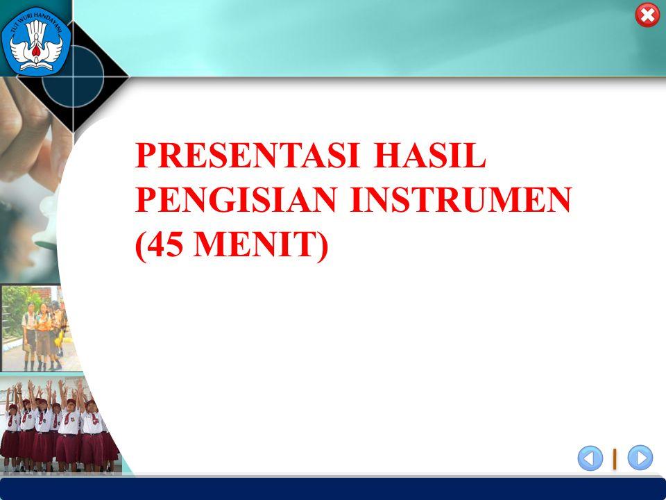 PRESENTASI HASIL PENGISIAN INSTRUMEN