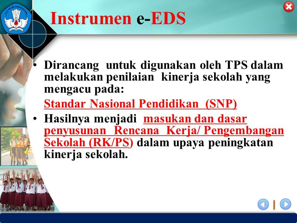 Instrumen e-EDS Dirancang untuk digunakan oleh TPS dalam melakukan penilaian kinerja sekolah yang mengacu pada:
