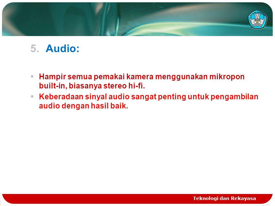 Audio: Hampir semua pemakai kamera menggunakan mikropon built-in, biasanya stereo hi-fi.