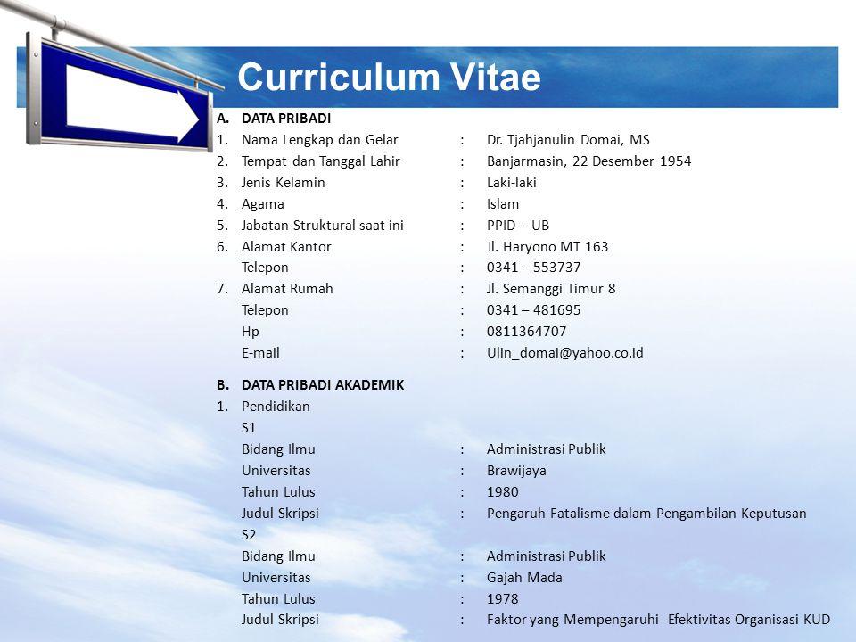 Curriculum Vitae A. DATA PRIBADI 1. Nama Lengkap dan Gelar :