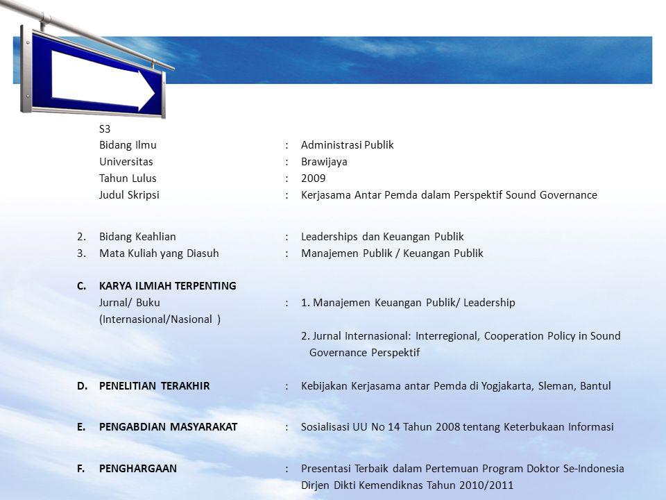 S3 Bidang Ilmu. : Administrasi Publik. Universitas. Brawijaya. Tahun Lulus. 2009. Judul Skripsi.