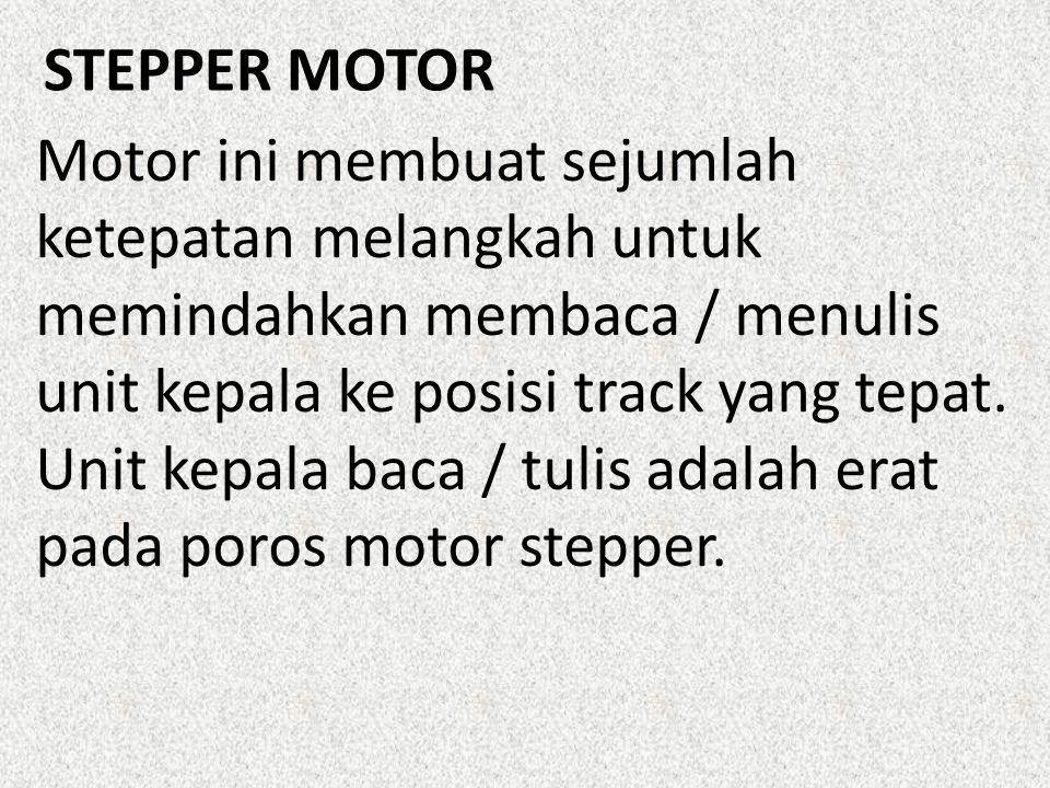 Motor ini membuat sejumlah ketepatan melangkah untuk memindahkan membaca / menulis unit kepala ke posisi track yang tepat. Unit kepala baca / tulis adalah erat pada poros motor stepper.