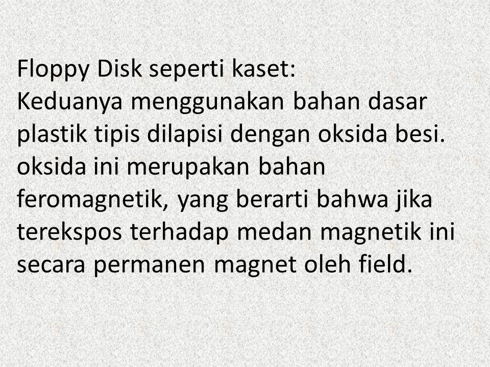 Floppy Disk seperti kaset: Keduanya menggunakan bahan dasar plastik tipis dilapisi dengan oksida besi.