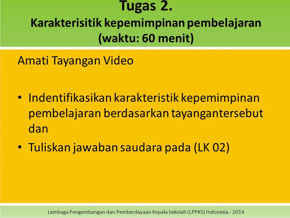 Tugas 2. Karakterisitik kepemimpinan pembelajaran (waktu: 60 menit)