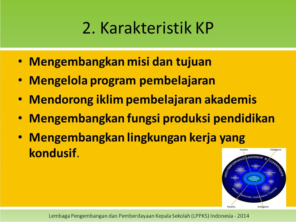 2. Karakteristik KP Mengembangkan misi dan tujuan