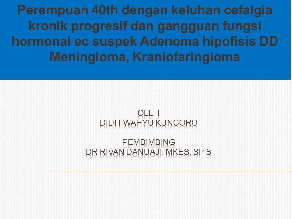 oleh DIDIT WAHYU KUNCORO pembimbing dr rivan danuaji, mkes, sp s