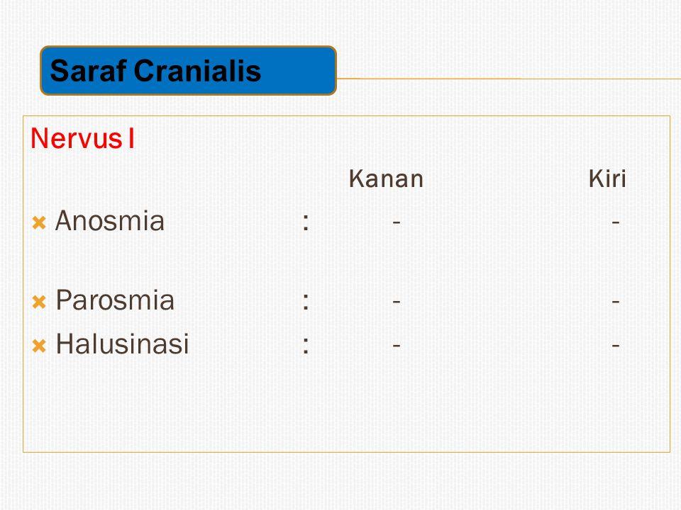 Saraf Cranialis Nervus I Anosmia : - - Parosmia : - - Halusinasi : - -