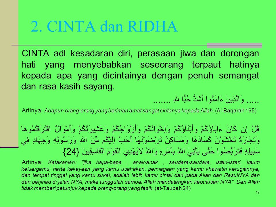 2. CINTA dan RIDHA