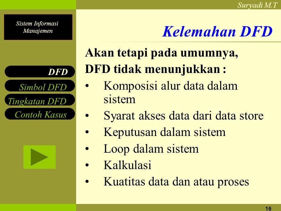 Kelemahan DFD Akan tetapi pada umumnya, DFD tidak menunjukkan :