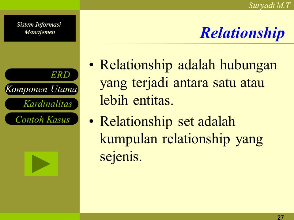 Relationship Relationship adalah hubungan yang terjadi antara satu atau lebih entitas. Relationship set adalah kumpulan relationship yang sejenis.