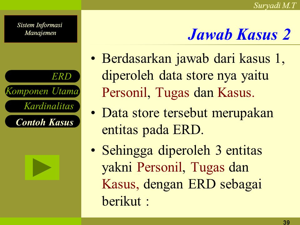 Jawab Kasus 2 Berdasarkan jawab dari kasus 1, diperoleh data store nya yaitu Personil, Tugas dan Kasus.