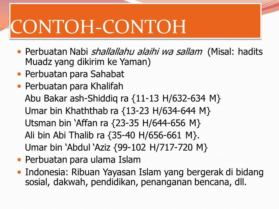 CONTOH-CONTOH Perbuatan Nabi shallallahu alaihi wa sallam (Misal: hadits Muadz yang dikirim ke Yaman)