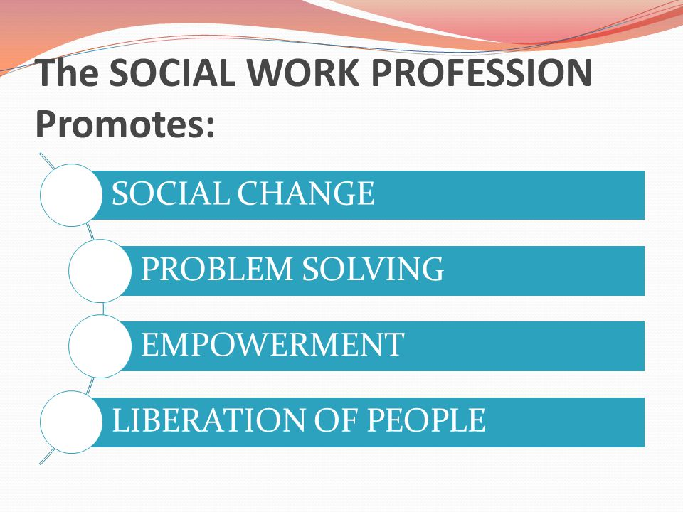 The SOCIAL WORK PROFESSION Promotes: