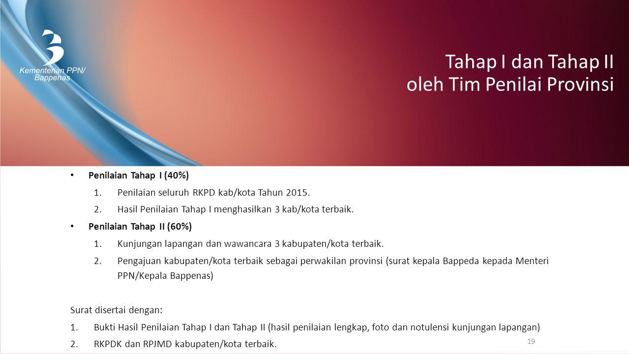 Tahap I dan Tahap II oleh Tim Penilai Provinsi