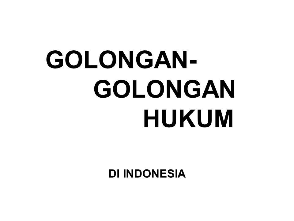 GOLONGAN- GOLONGAN HUKUM