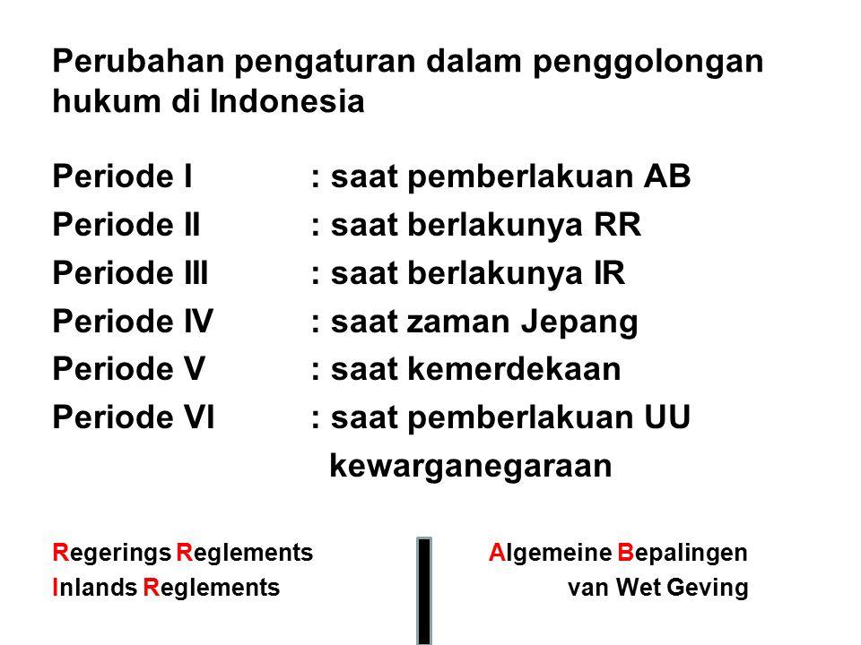 Perubahan pengaturan dalam penggolongan hukum di Indonesia