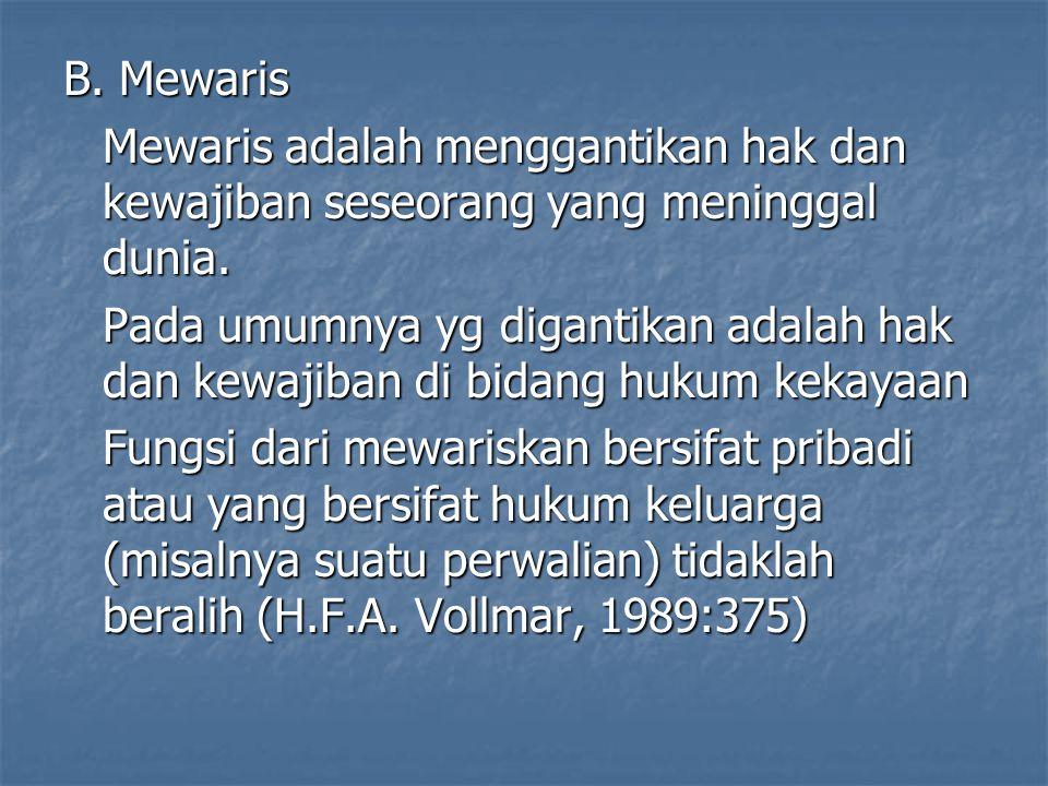 B. Mewaris Mewaris adalah menggantikan hak dan kewajiban seseorang yang meninggal dunia.