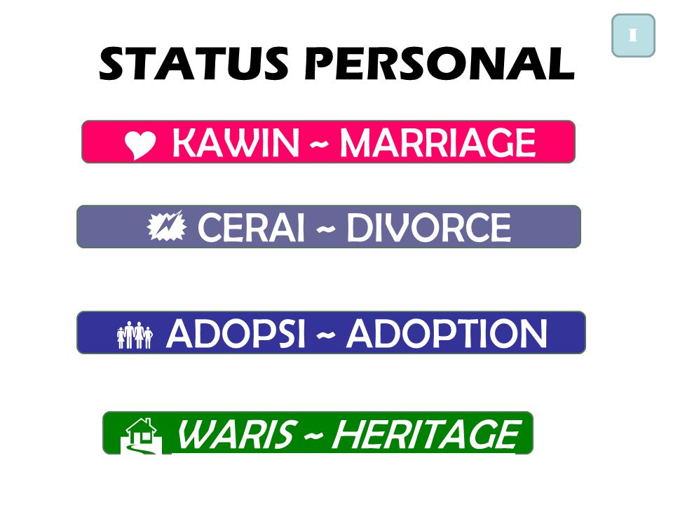 STATUS PERSONAL KAWIN ~ MARRIAGE  CERAI ~ DIVORCE  ADOPSI ~ ADOPTION