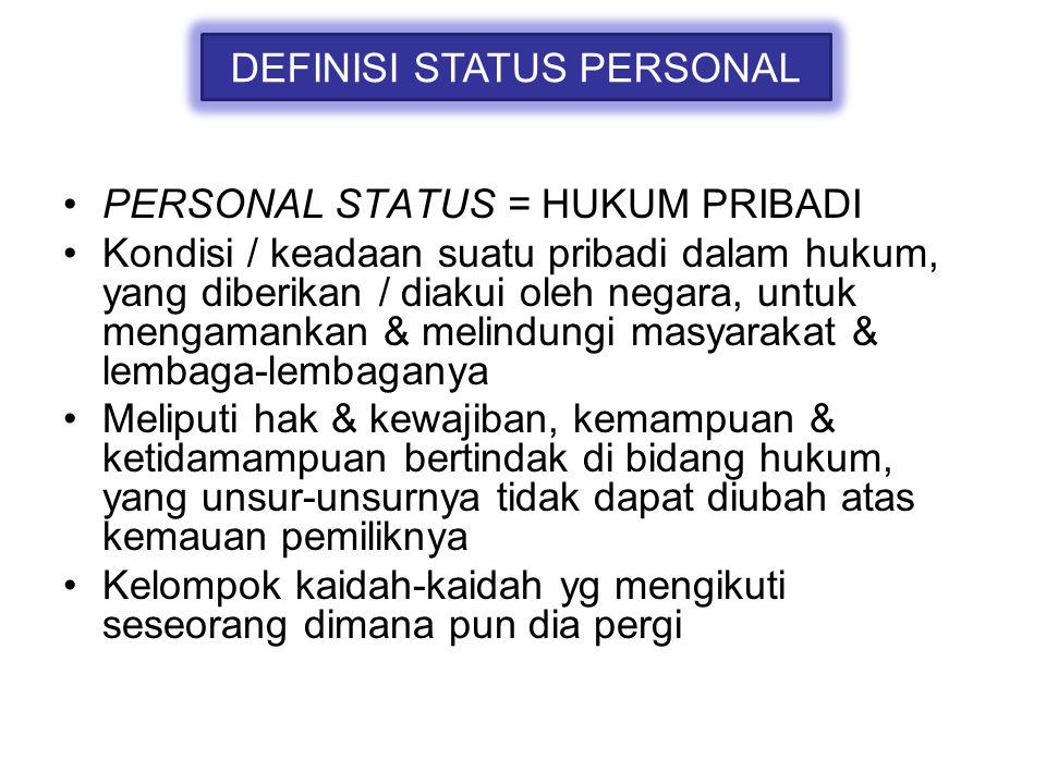 DEFINISI STATUS PERSONAL