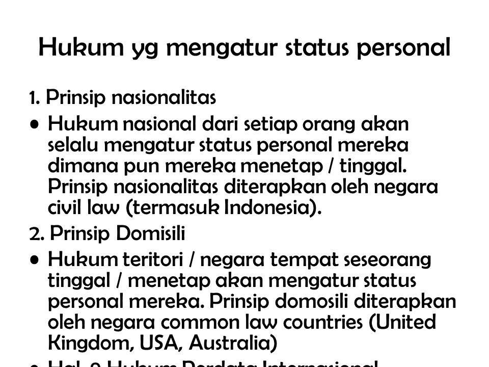 Hukum yg mengatur status personal