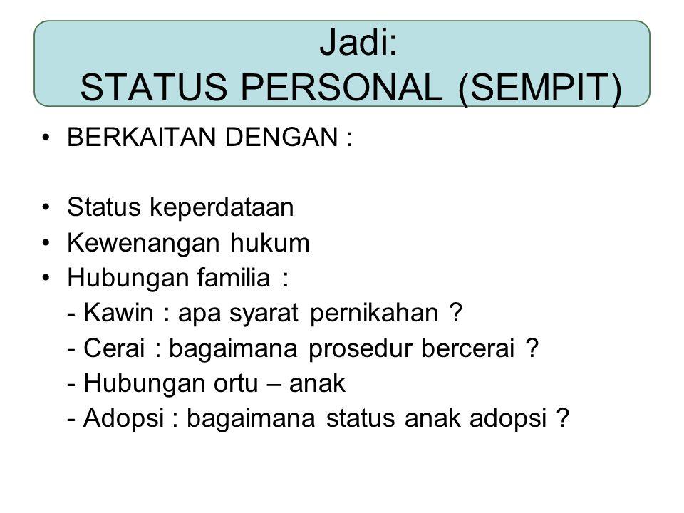Jadi: STATUS PERSONAL (SEMPIT)