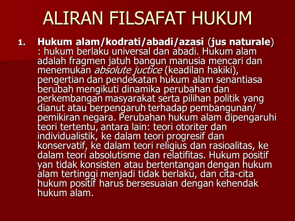 ALIRAN FILSAFAT HUKUM