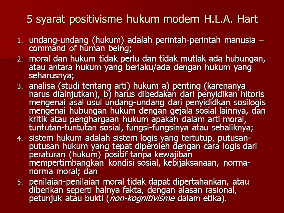 5 syarat positivisme hukum modern H.L.A. Hart