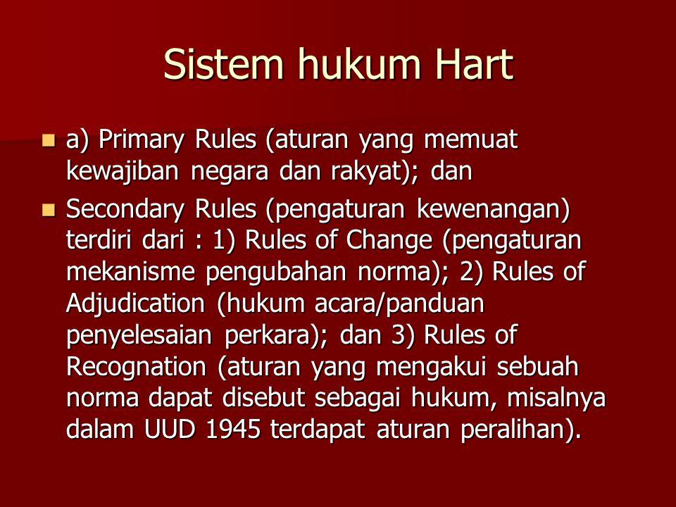 Sistem hukum Hart a) Primary Rules (aturan yang memuat kewajiban negara dan rakyat); dan.