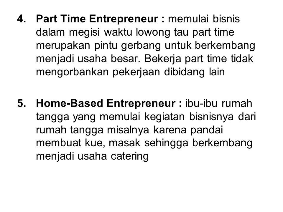 Part Time Entrepreneur : memulai bisnis dalam megisi waktu lowong tau part time merupakan pintu gerbang untuk berkembang menjadi usaha besar. Bekerja part time tidak mengorbankan pekerjaan dibidang lain