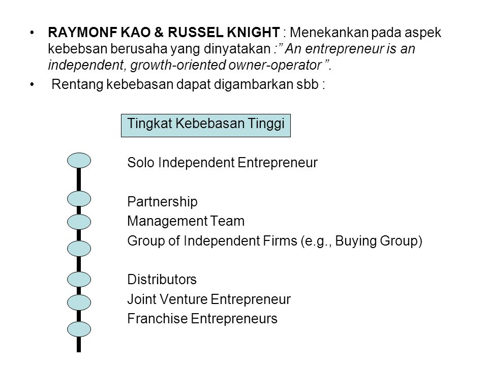 RAYMONF KAO & RUSSEL KNIGHT : Menekankan pada aspek kebebsan berusaha yang dinyatakan : An entrepreneur is an independent, growth-oriented owner-operator .