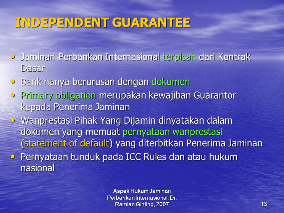 INDEPENDENT GUARANTEE