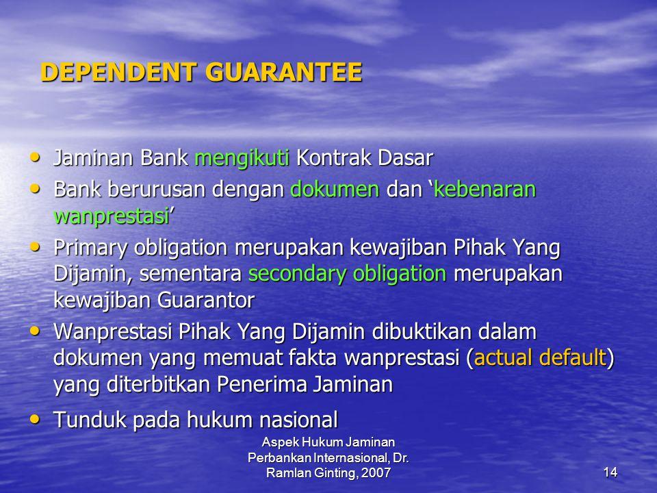 Aspek Hukum Jaminan Perbankan Internasional, Dr. Ramlan Ginting, 2007