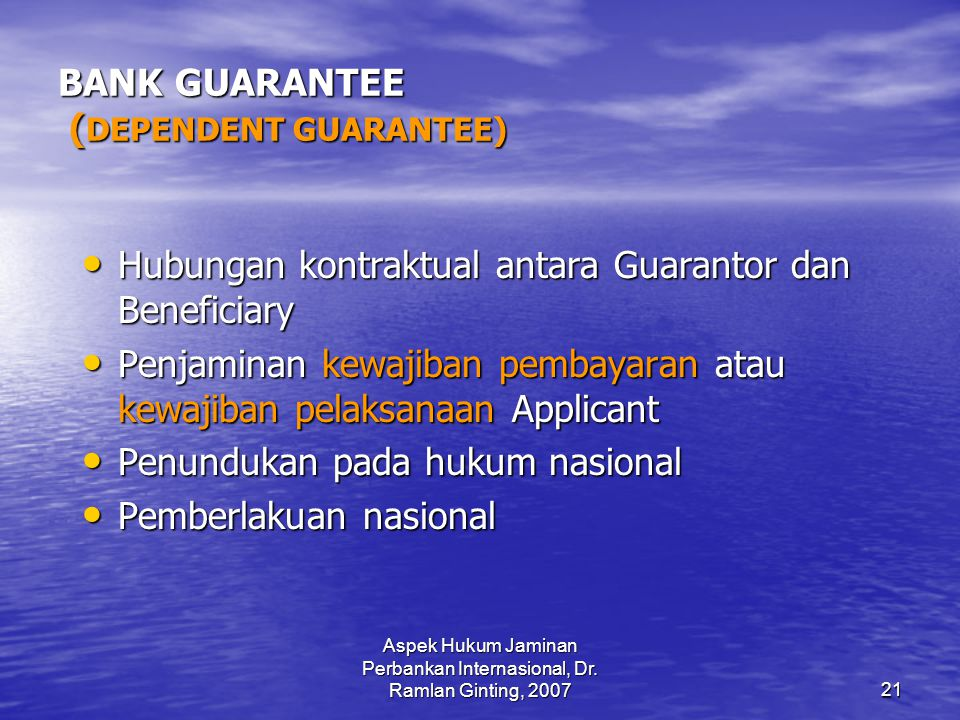 BANK GUARANTEE (DEPENDENT GUARANTEE)