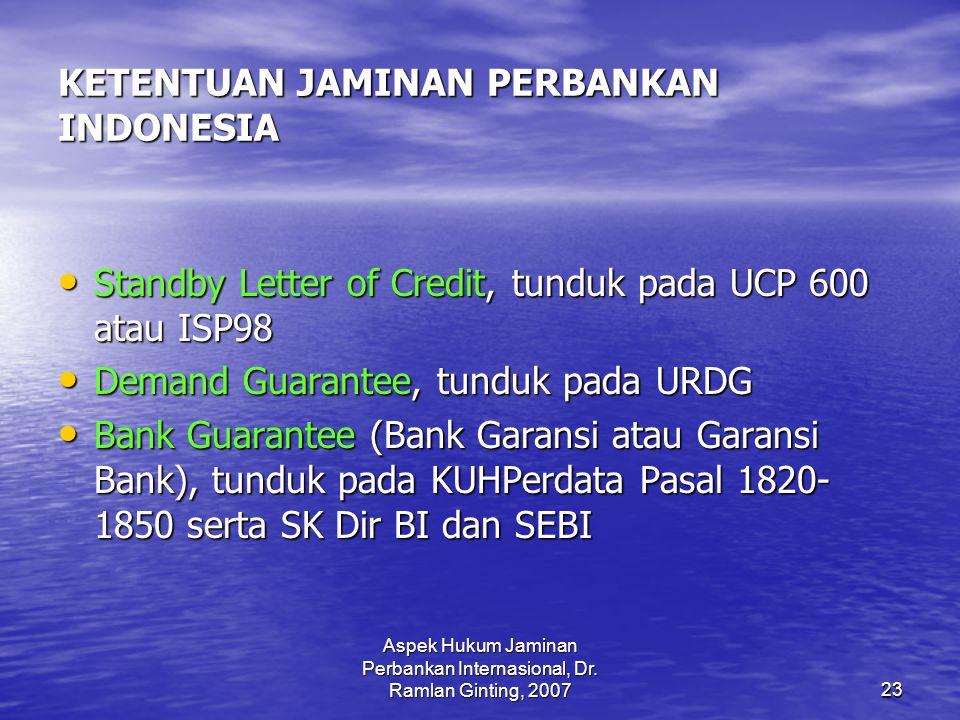KETENTUAN JAMINAN PERBANKAN INDONESIA