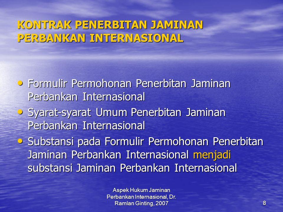 KONTRAK PENERBITAN JAMINAN PERBANKAN INTERNASIONAL