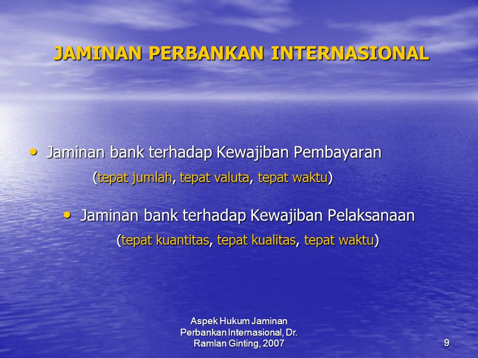 JAMINAN PERBANKAN INTERNASIONAL